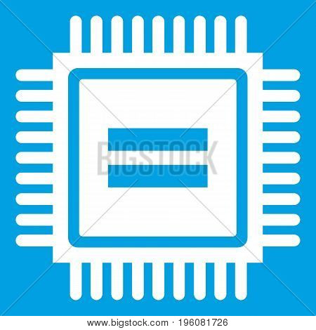 Electronic circuit board icon white isolated on blue background vector illustration