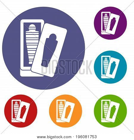 Mummy in sarcophagus icons set in flat circle red, blue and green color for web
