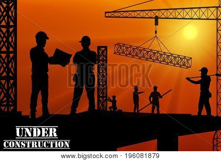 Vector illustration of Construction worker silhouette on the work place at dusk
