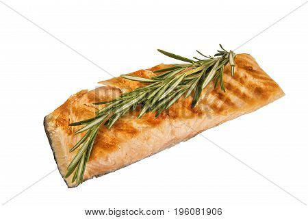 Delicious portion of fresh salmon fillet with aromatic herbs isolated on white background.