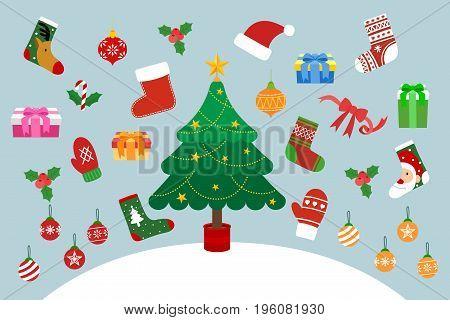 Christmas tree and christmas decoration. Christmas concept vector illustration.