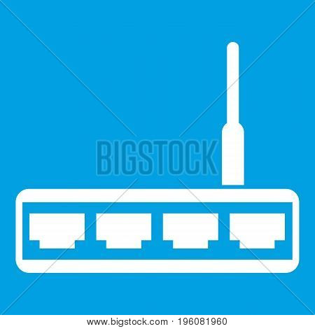 Router icon white isolated on blue background vector illustration