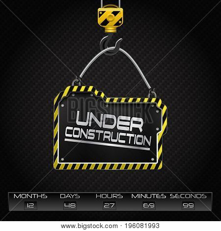 Vector illustration of Under construction hanging board