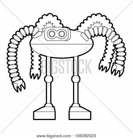 Robot octopus icon in outline style isolated on white vector illustration