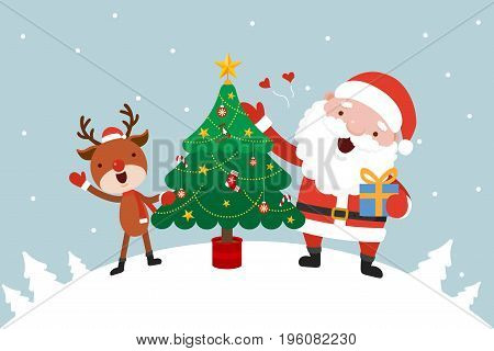 Santa and Reindeer with Christmas tree. Christmas concept vector illustration.