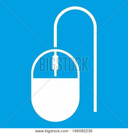 Computer mouse icon white isolated on blue background vector illustration