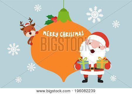 Santa and Reindeer. Christmas concept vector illustration.