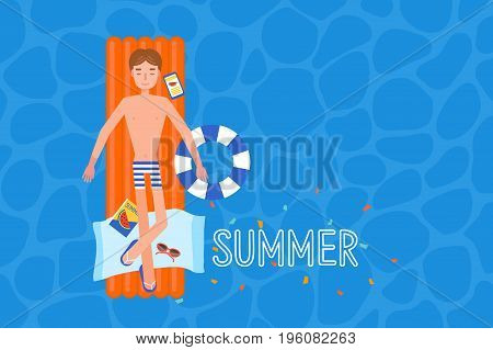 young man on the airmattress at the swimmingpool.