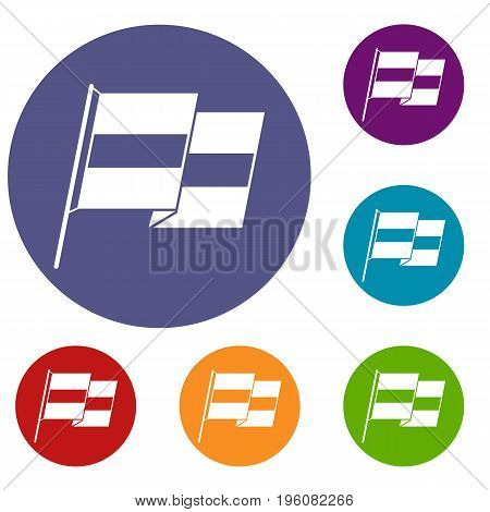Egyptian flag icons set in flat circle red, blue and green color for web