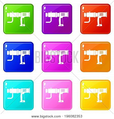 Hand drill icons of 9 color set isolated vector illustration