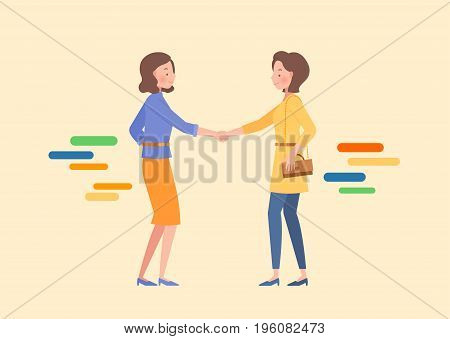 two women are shaking hands. Lifestyle concept illustration.