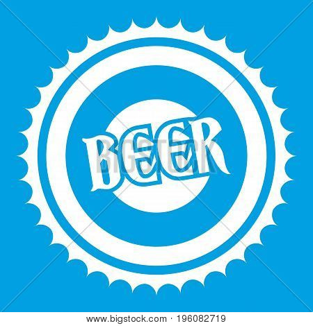 Beer bottle cap icon white isolated on blue background vector illustration