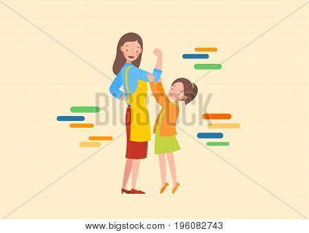 The daughter is clinging to her mother. Lifestyle concept illustration.