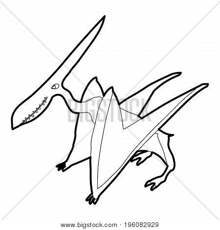 Pterodactyl icon in outline style isolated on white vector illustration
