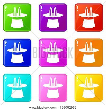 Rabbit ears appearing from a top magic hat icons of 9 color set isolated vector illustration