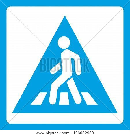 Pedestrian road sign icon white isolated on blue background vector illustration
