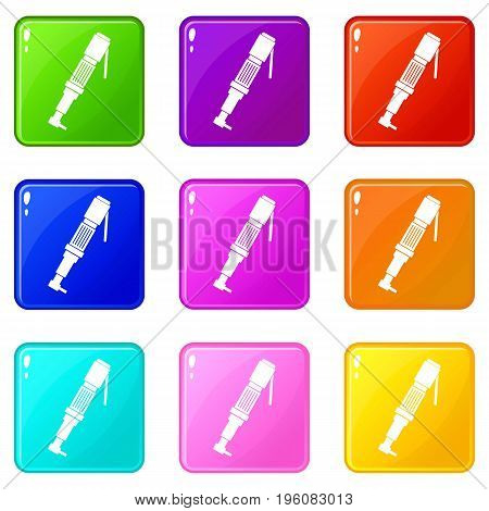 Pneumatic screwdriver icons of 9 color set isolated vector illustration