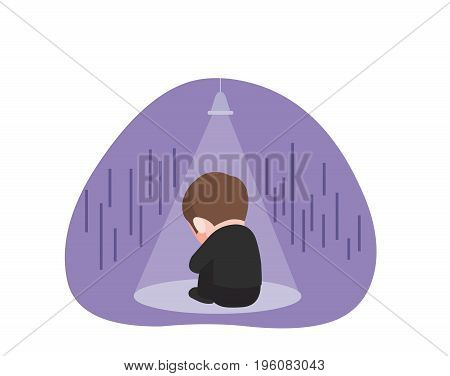 frustrated and lonely businessman. business concept illustration.
