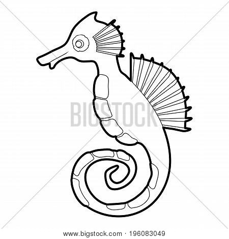 Seahorse icon in outline style isolated on white vector illustration