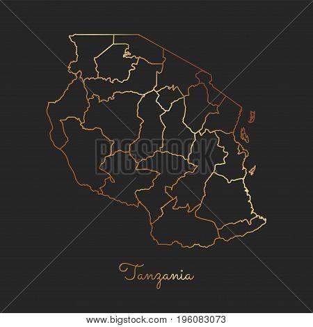 Tanzania Region Map: Golden Gradient Outline On Dark Background. Detailed Map Of Tanzania Regions. V