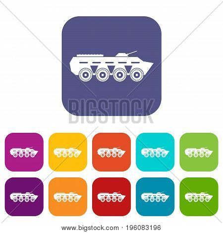 Army battle tank icons set vector illustration in flat style in colors red, blue, green, and other