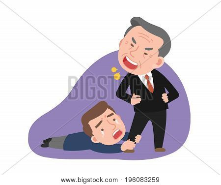 An angry boss and sad employee. vector illustration.