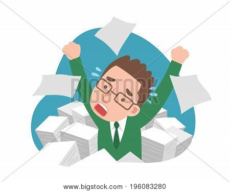 man under the stress of working and a lot of documents.