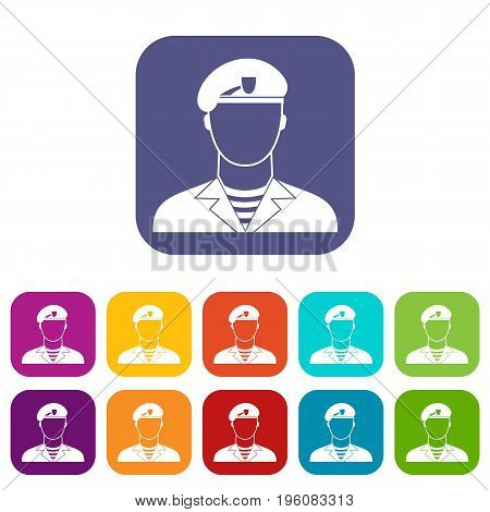 Modern army soldier icons set vector illustration in flat style in colors red, blue, green, and other