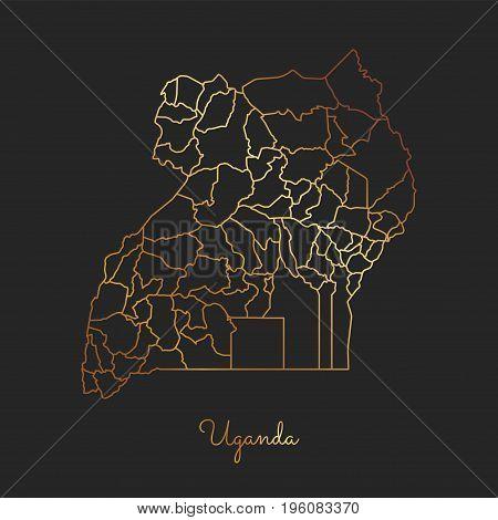 Uganda Region Map: Golden Gradient Outline On Dark Background. Detailed Map Of Uganda Regions. Vecto