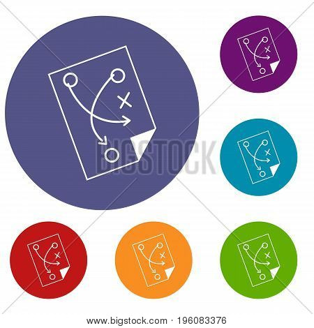 Soccer strategy icons set in flat circle red, blue and green color for web