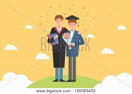Father celebrating his son graduation ceremony. vector illustration.