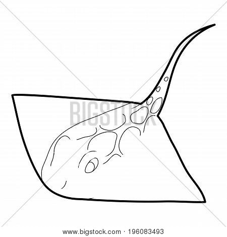 Stingray icon in outline style isolated on white vector illustration