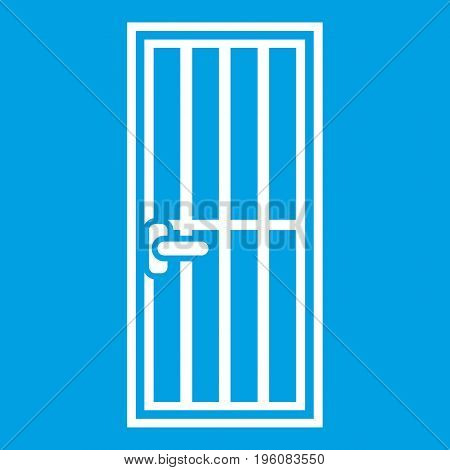 Steel door icon white isolated on blue background vector illustration