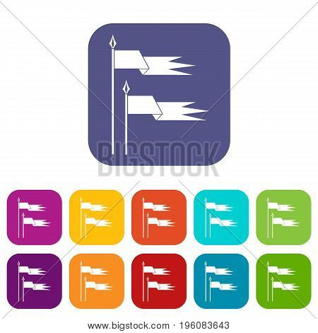 Ancient battle flags icons set vector illustration in flat style in colors red, blue, green, and other
