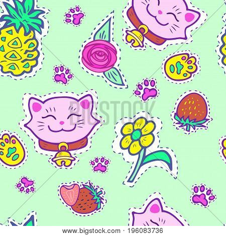 Seamless bright pattern with pink smiling cat, pineapple, strawberry, yellow flower. Maneki Neko - symbol of happiness, luck, success, love. Vector.