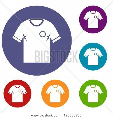 Soccer shirt icons set in flat circle red, blue and green color for web