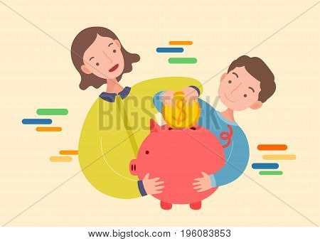 Mother and son Putting Coin In Piggy Bank.