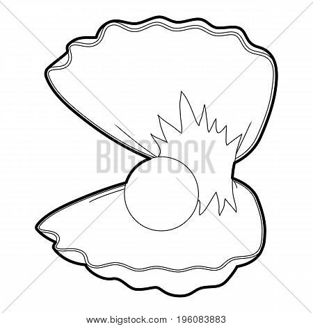 Pearl shell icon in outline style isolated on white vector illustration
