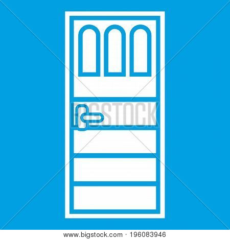 Wooden door with three glasses icon white isolated on blue background vector illustration