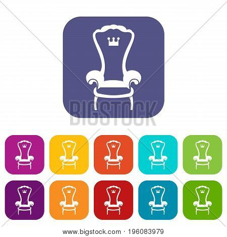 King throne chair icons set vector illustration in flat style in colors red, blue, green, and other