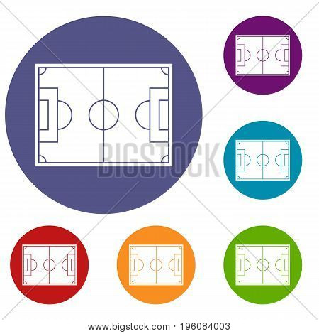 Soccer field icons set in flat circle red, blue and green color for web