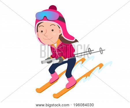 vector seasonal illustration of a woman who enjoys skiing in winter