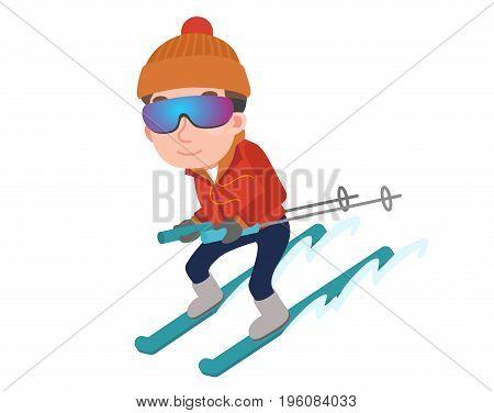 vector seasonal illustration of a man who enjoys skiing in winter