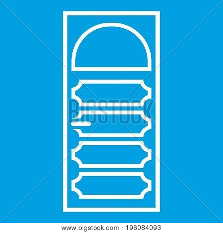 Wooden door with an arched glass icon white isolated on blue background vector illustration