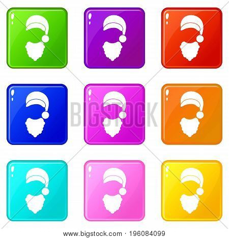 Cap with pompon of Santa Claus and beard icons of 9 color set isolated vector illustration