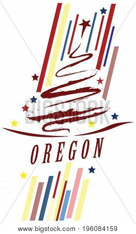 Creative banner with the symbol of the State of Oregon.