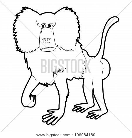 Baboon icon in outline style isolated on white vector illustration