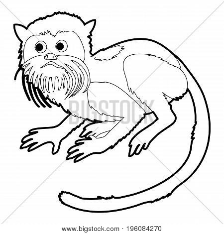 Imperial tamarin icon in outline style isolated on white vector illustration