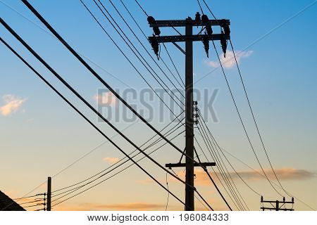 power pole is a tool for delivering electricity to rural areas.