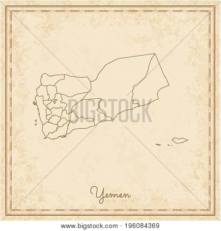 Yemen Region Map: Stilyzed Old Pirate Parchment Imitation. Detailed Map Of Yemen Regions. Vector Ill